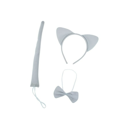 Lux Accessories Plain Grey Cat Ears Tail Bowtie Costume Set Halloween Party Kit - Lion Tail Costume Accessory