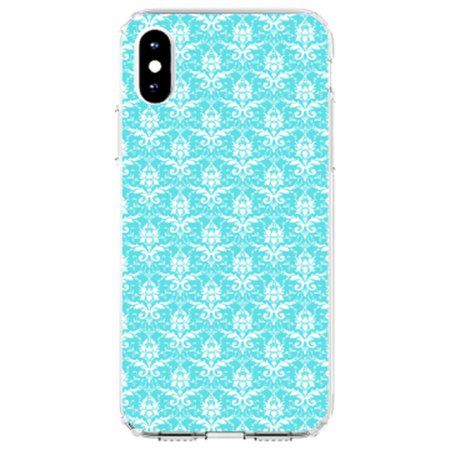"DistinctInk Clear Shockproof Hybrid Case for iPhone X / XS (5.8"" Screen) - TPU Bumper, Acrylic Back, Tempered Glass Screen Protector - Baby Blue White Damask Pattern - Floral Damask Pattern"
