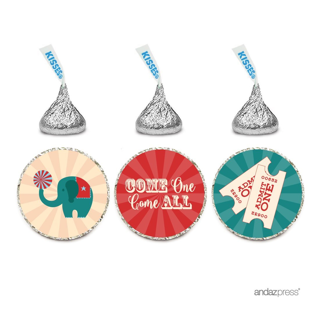 Chocolate Drop Labels Trio, Hershey's Kisses Party Favors, Carnival Circus Party Come One Come All, 216-Pack