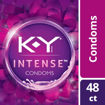 K-Y Intense Latex Condoms (48 condoms), Discreetly Packaged With Silicone-Based Lubricant, Ribbed & Dotted With Specially Formulated Lube To Intensify Her Pleasure