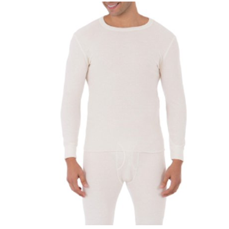 Fruit of The loom Men's Waffle Baselayer Crew Neck Thermal Top Long John Pjs
