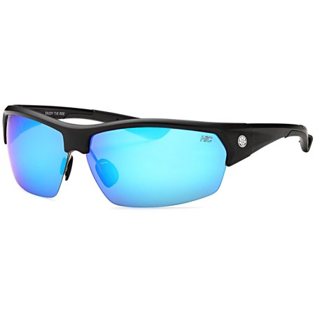 Hawaiian Island Creations TAC Polarized Semi-Rimless Oval Active High Quality Sunglasses - TR90 Black Frame / Flash Blue Revo Lenses Semi Oval Sunglasses
