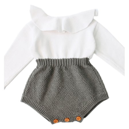 StylesILove Baby Girl Autumn Knitted Ruffle Long Sleeve Princess Jumpsuit Romper (100/18-24 Months)](Toddler Jumpsuit)