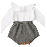 StylesILove Baby Girl Autumn Knitted Ruffle Long Sleeve Princess Jumpsuit Romper (100/18-24 Months)
