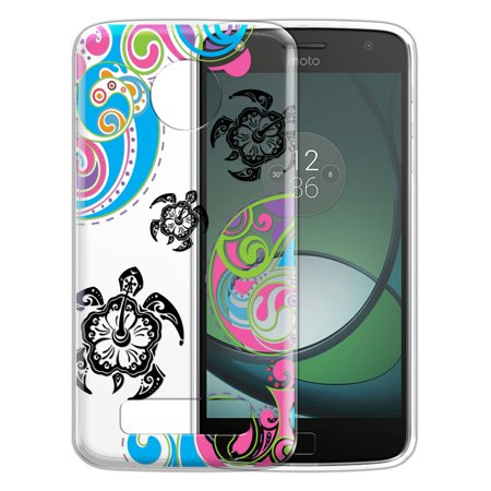 FINCIBO Soft TPU Clear Case Slim Protective Cover for Motorola Moto Z Play Droid, Black Turtles With Abstract