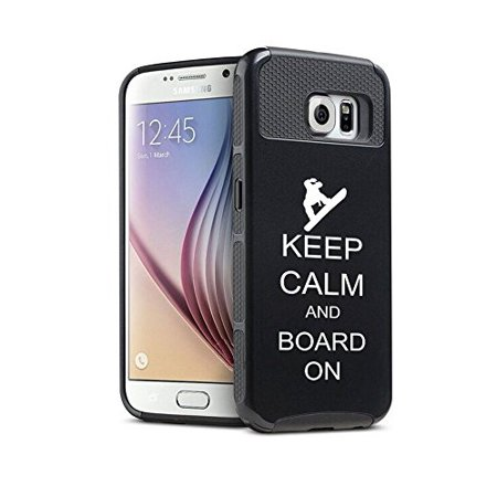 Snowboard Hard Case (Samsung Galaxy S7 Edge Shockproof Impact Hard Case Cover Keep Calm and Board On Snowboard (Black ),MIP)