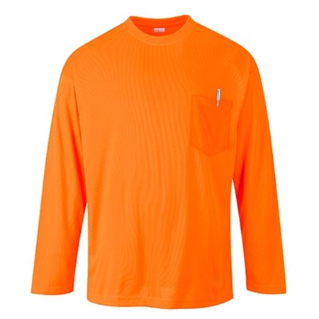 S579 2XL Long Sleeve Pocket T-Shirt, Orange - Regular - image 1 of 1