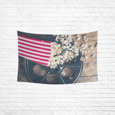 Wall Cinema (YKCG Home Decoration Cinema Concept with Popcorn on Wooden Surface Wall Hanging Tapestry 60 x 51 Inches)