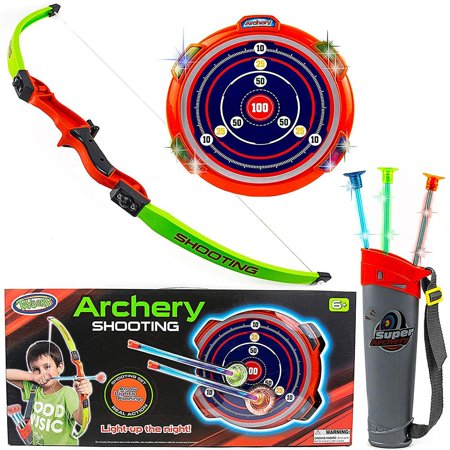Toysery Kids Archery Bow and Arrow Toy Set - Target with LED Flashing Lights and Sounds - Stand Indoor, Outdoor Garden Fun Game - Best Archery Bow & Arrow Toy (Children's Bow And Arrow)