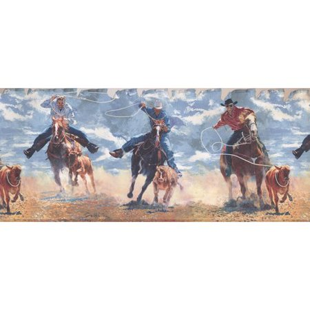 York Wallcoverings Retro Rodeo Cowboys Lasso Rope Hunting Vintage Design 15