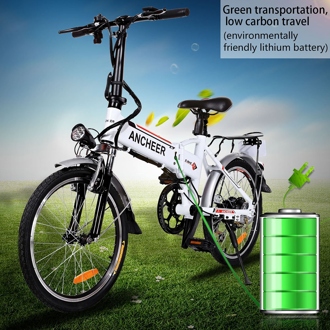 Power Plus Electric Bicycle Folding Electric Mountain Bike with Lithium-Ion Battery White