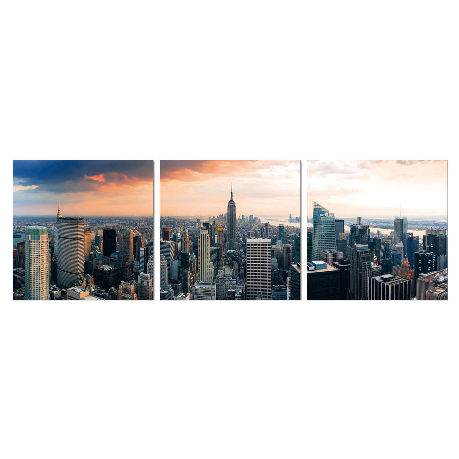 Furinno SeniA Empire State City View 3-Panel MDF Framed Photography Triptych Print, 48 x 16-in