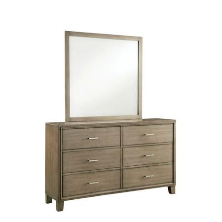 furniture of america realm 6 drawer dresser and mirror set in gray. Black Bedroom Furniture Sets. Home Design Ideas