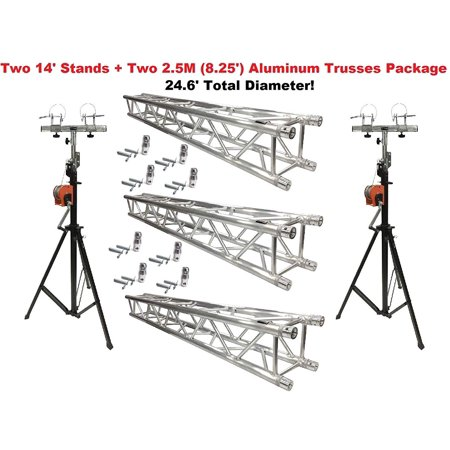 Two 14' Crank Up Stands With Three 8.20' Square Aluminum Truss Segments (Truss Package)