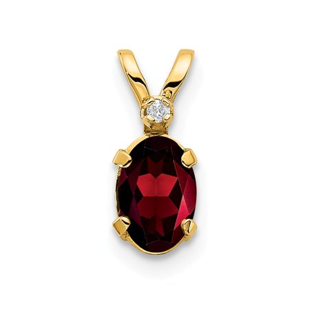 Roy Rose Jewelry 14K Yellow Gold Diamond & 0.68-Carat Oval Garnet Birthstone Pendant
