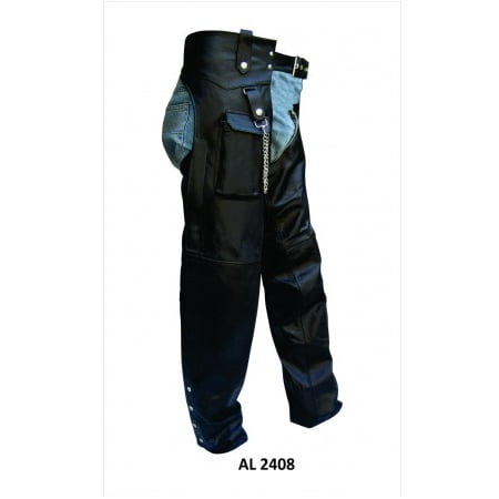 Men's Medium Size Cargo Pocket Split Cowhide Leather Plain Lined Chaps With Chain (Interstate Leather Chaps)