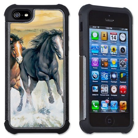 Apple iPhone 6 Plus / iPhone 6S Plus Cell Phone Case / Cover with Cushioned Corners - Horses in the Surf