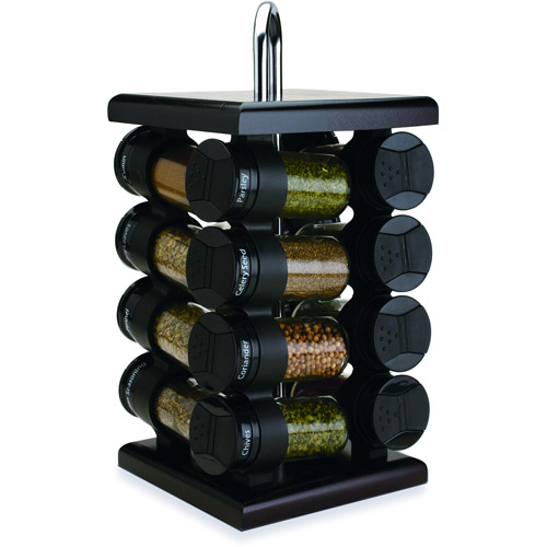 Olde Thompson 16-Jar Revolving Spice Rack, Black