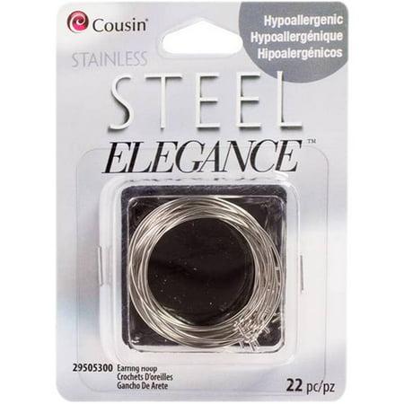 Square Beaded Hoops - Stainless Steel Elegance Beads and Findings, Earring Hoops, 22pk