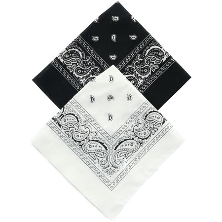 Size one size Black and White Duo Bandana Pack (Pack of 2), Black & White - Custom Bandana