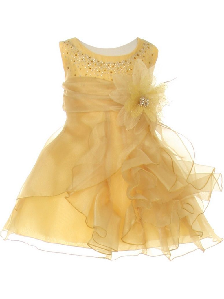 Baby Girls Gold Crystal Organza Cascade Ruffle Dress 24M