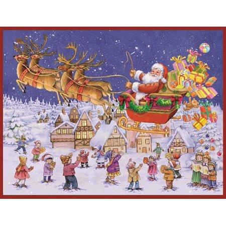 santa delivering gifts german advent calendar made germany. Black Bedroom Furniture Sets. Home Design Ideas