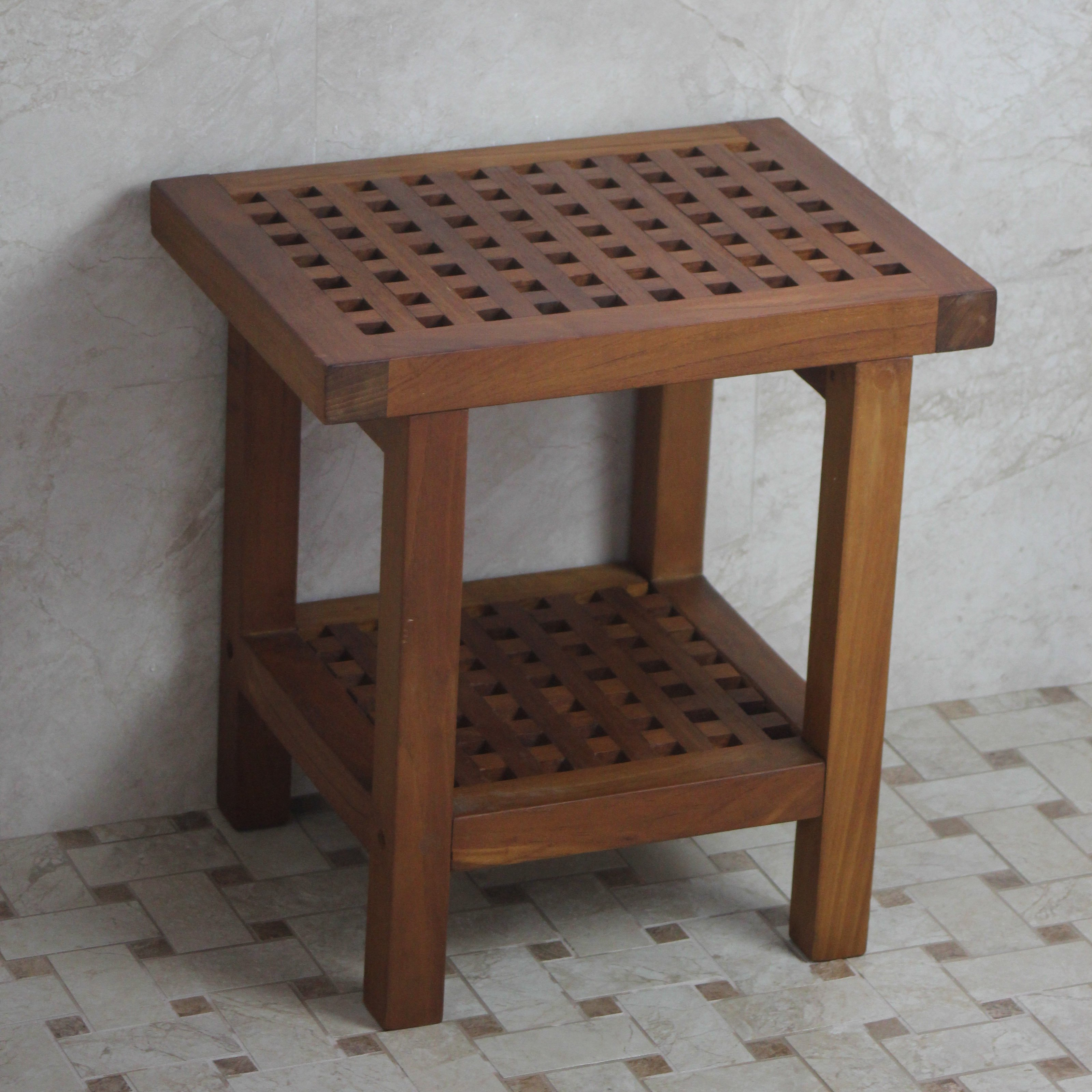 Aqua Teak Grate Stool with Shelf 17 in. Wide