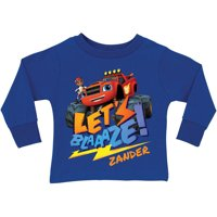 Personalized Blaze and the Monster Machines Royal Blue Toddler Boy Long Sleeve Tee