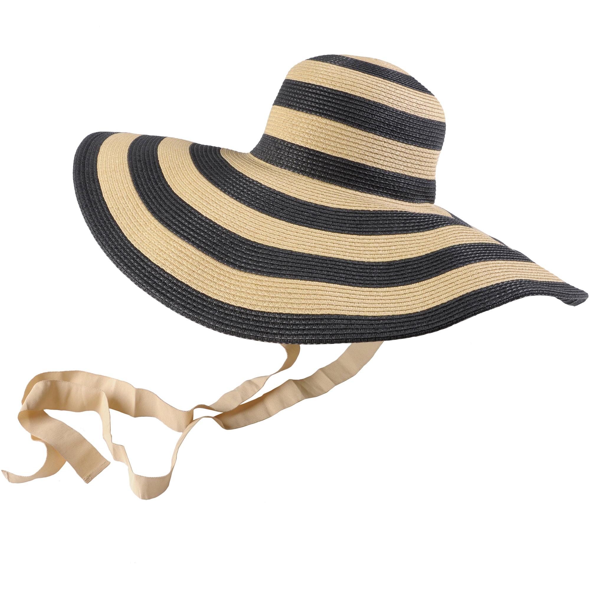 Brinley Co Womens Wide Brim Striped Sunhat