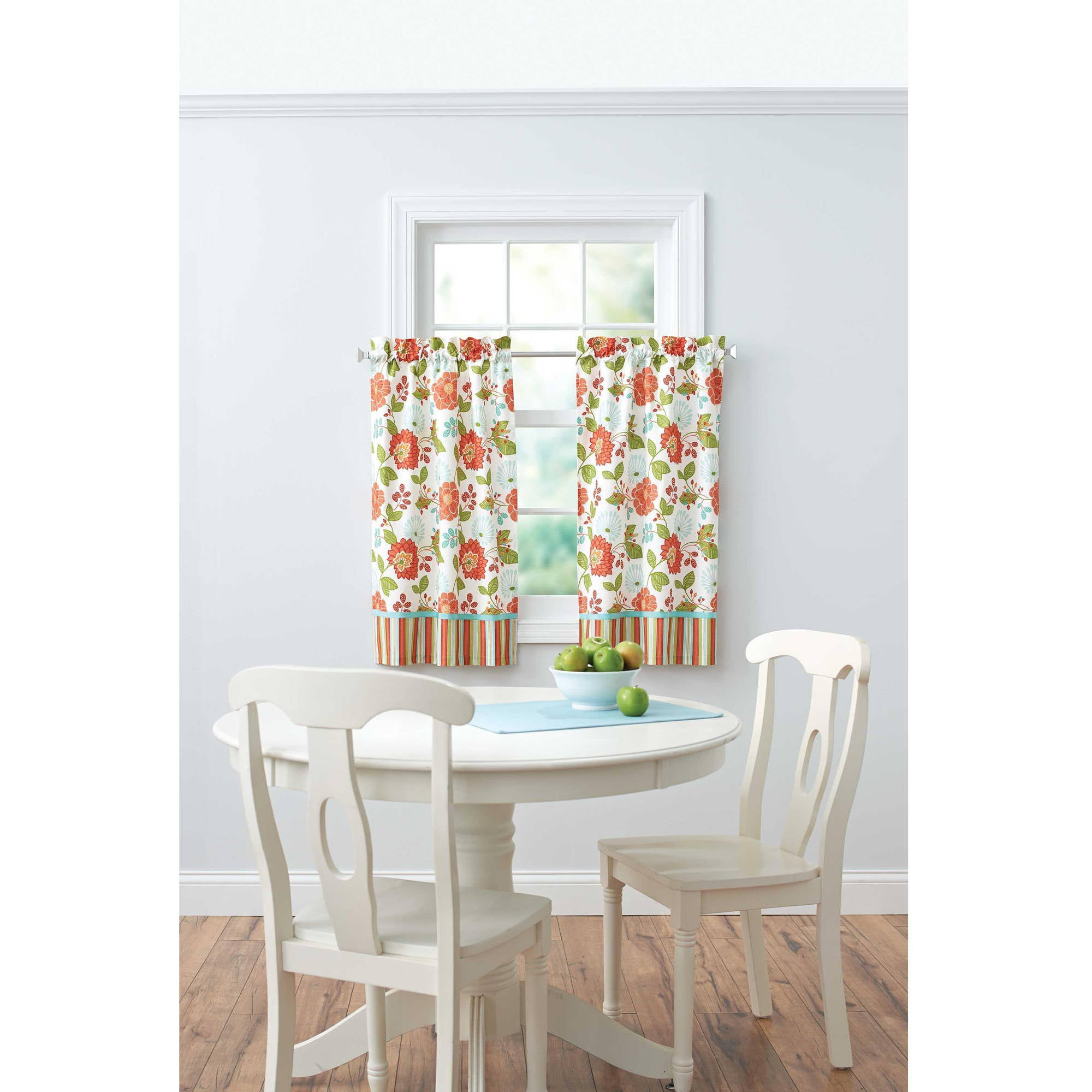 Better homes and gardens jacobean stripe kitchen kitchen curtains set of 2 7 better homes and gardens