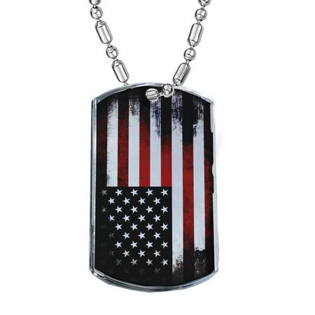 KuzmarK Silver Chrome Pendant Dog Tag Necklace - American Flag Chrome Dog Tag Necklace