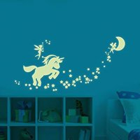 Fancyleo 1 Pcs Unicorn Wall Decals Glow in The Dark Wall Decor Wall Decals for Kid Girl Bedroom DIY Home Nursery Room Wall Decals