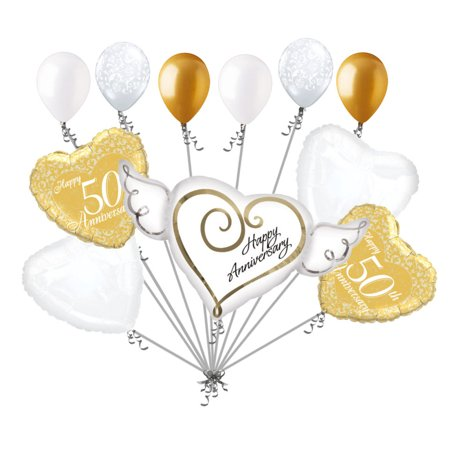 Happy Anniversary Decorations (11 pc 50th Gold Happy Anniversary Balloon Bouquet Decoration Married)