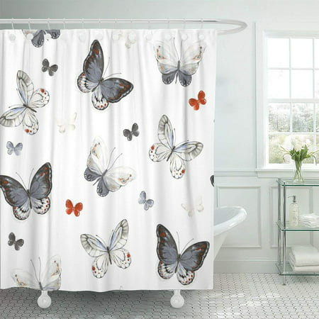PKNMT Colorful Butterflies White Black Red and Gray Colors Polyester Shower Curtain 60x72 inches