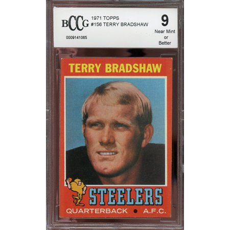 1971 Topps  156 Terry Bradshaw Pittsburgh Steelers Rookie Card Bgs Bccg 9
