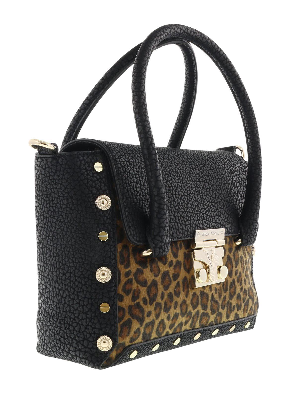 8f232e45bdcb Versace EE1VQBBM4 EMHX Black Leopard Satchel Bag - Walmart.com