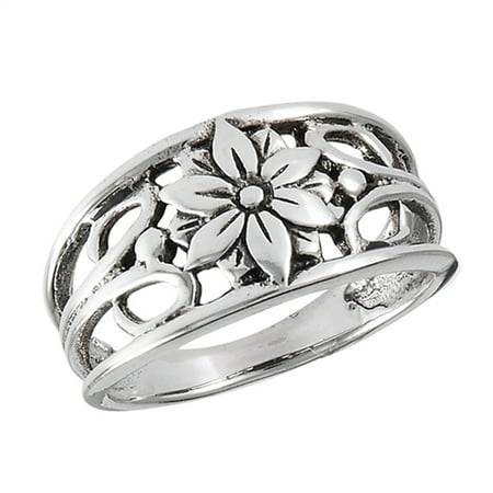 Oxidized Filigree Flower Daisy Leaf Ring New 925 Sterling Silver Band Size