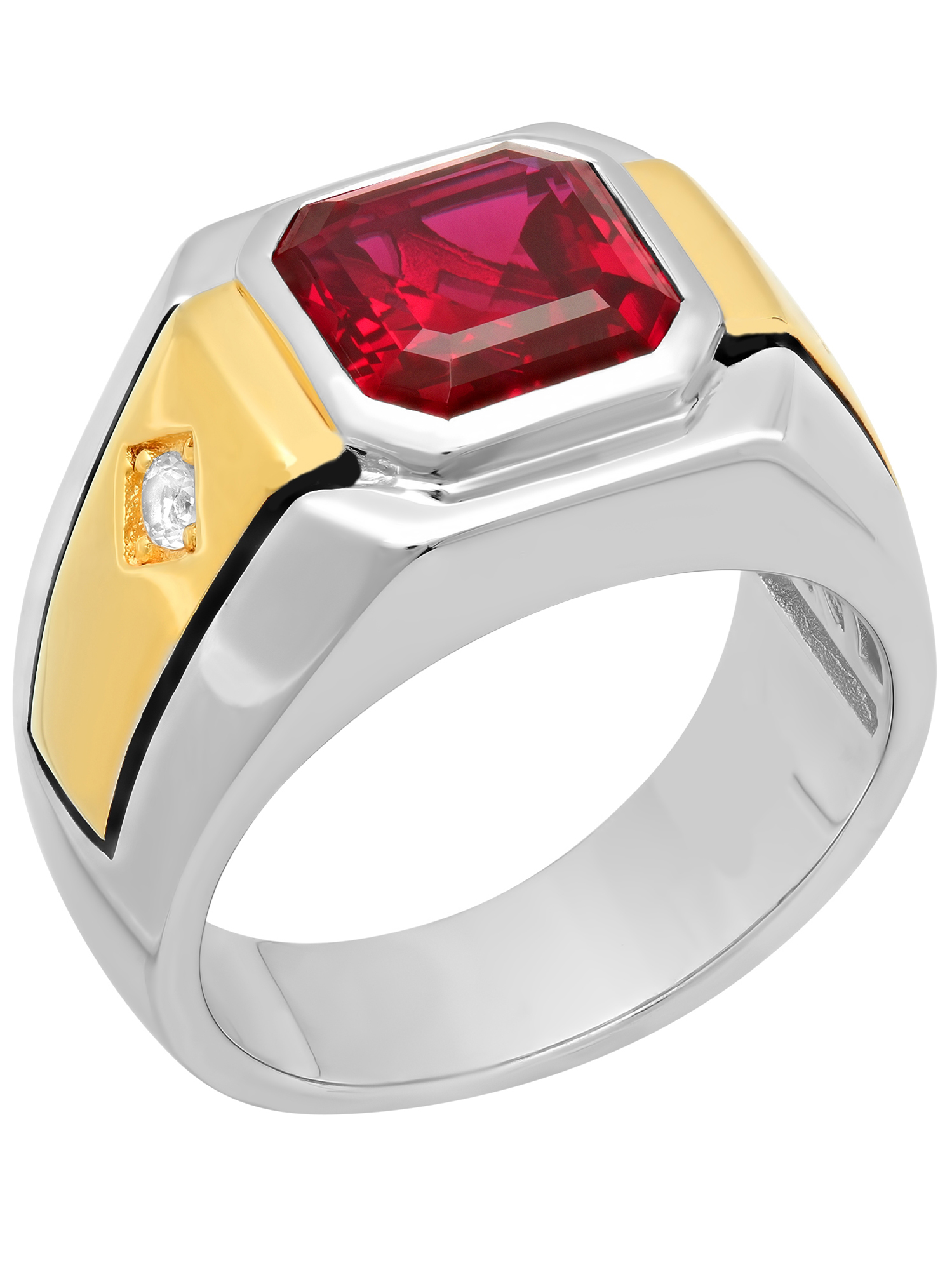 Men's 14K Gold Plated Sterling Silver Cubic Zirconia and Ruby Gemstone Ring
