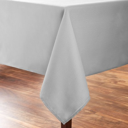 Mainstays Fraser Fabric Tablecloth, Soft Silver, 60