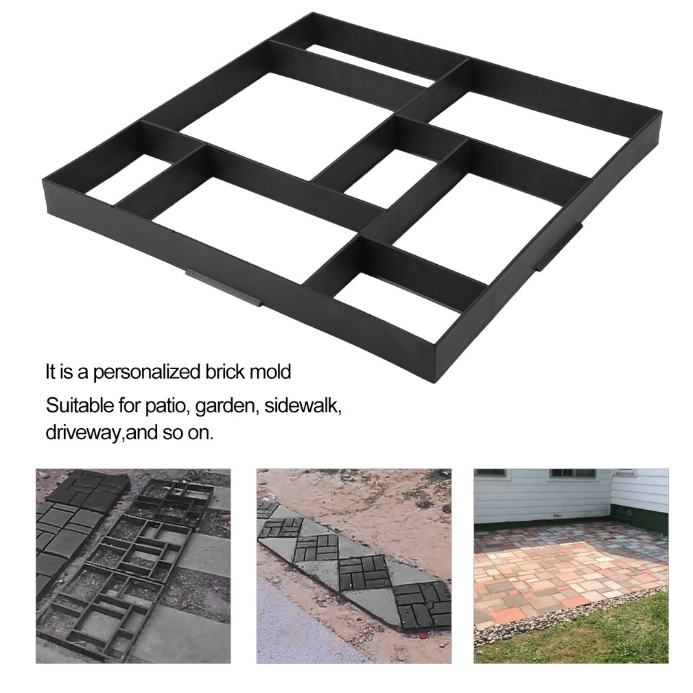 50*50*4.5cm 8 Rectangular Slots Driveway Paving Pavement Mold Patio Concrete Stepping Stone Path Bricks Maker Mold