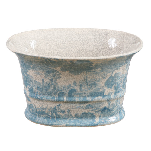 Winward Silks French Toile Oval Pot Planter