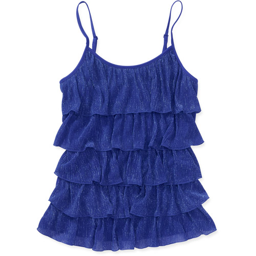 No Boundaries Juniors Lurex Ruffle Cami