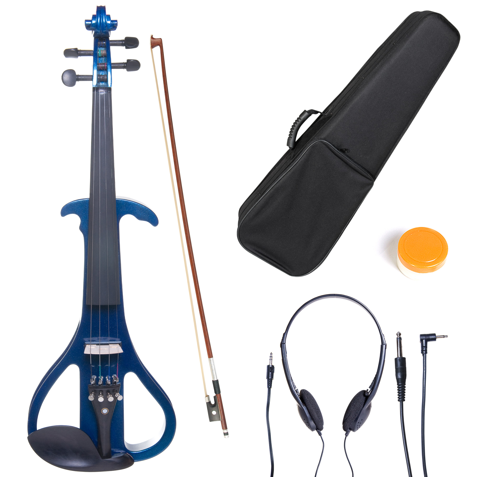 Cecilio 4/4 CEVN-4BL Solidwood Metallic Blue Electric/Silent Violin with Ebony Fittings-Full Size