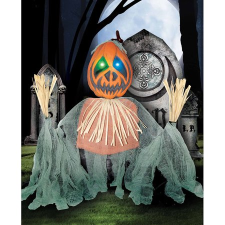 Light-Up Pumpkin Scarecrow Grave Breaker Halloween Decoration ...