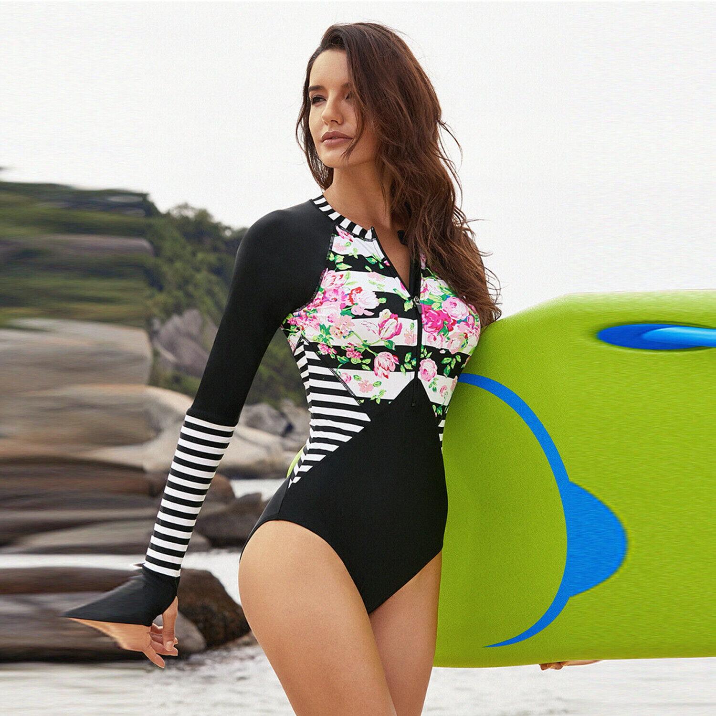 East Wind Apparel Womens Long Sleeve Rash Guard One Piece Tankini Swimsuit Printed Rash Guard Shirt with Front Zip