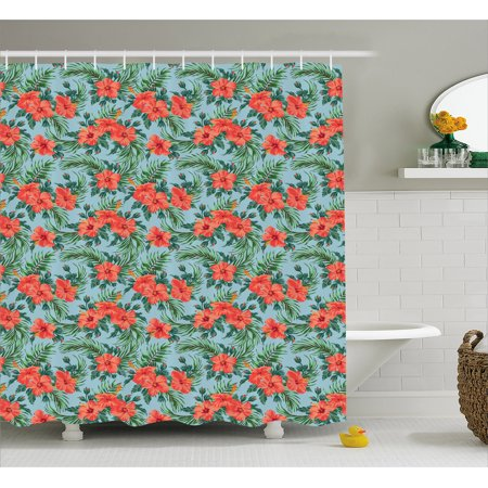 Luau Shower Curtain, Exotic Summer Bouquet Design with Hibiscus Flourish Aloha Botanical, Fabric Bathroom Set with Hooks, Pale Blue Vermilion Green, by Ambesonne