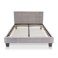 Furniture of America Mellie Platform Bed, Gray Fabric, King