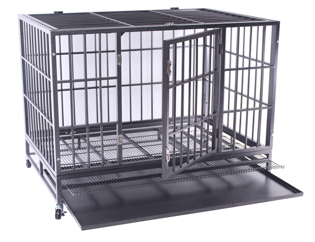 haige pet heavy duty dog crate extra large metal dog kennel cage with