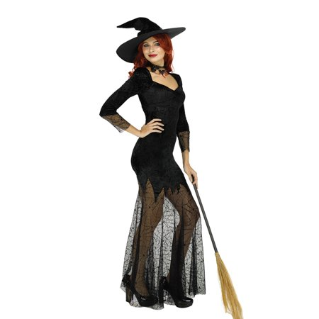 Women's Elegant Witch Wizard Costume Long Sorceress Dress for Halloween Fancy Dress Party - Womens Fancy Dress Halloween