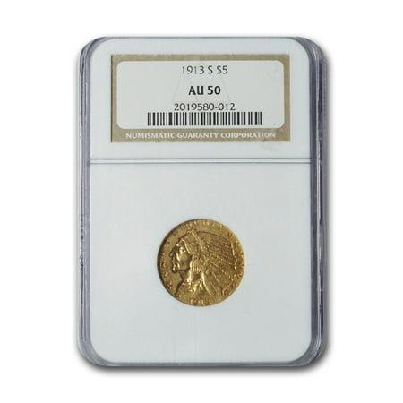1913-S $5 Indian Gold Half Eagle AU-50 NGC Indian Head Half Eagle